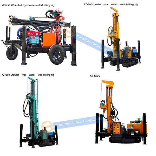 different types of water wel drilling machine